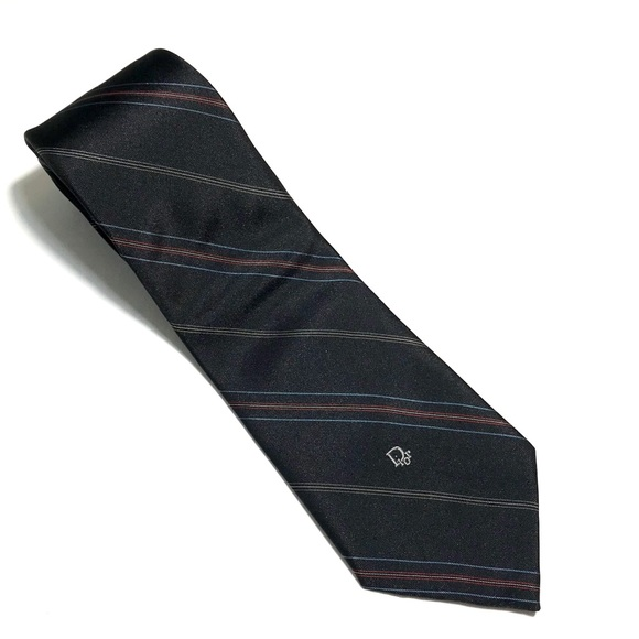 Dior Other - Christian Dior Black tie-blue/red stripe 56Lx3.25W